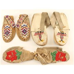 Lot of 3 Pairs of Beaded Moccasins