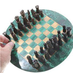 Vintage Handmade Malachite Wood Chess Set
