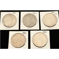 Lot of 5 Morgan Silver Dollars