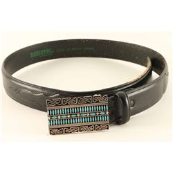 Turquoise & Silver Zuni Petit Point Buckle