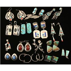 Lot of 13 Pairs Navajo & Zuni Earrings