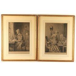 Lot of 2 Lithographs by W. Dendy Sadler