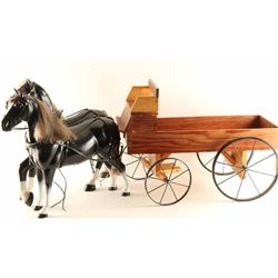 Wooden Wagon with Horses