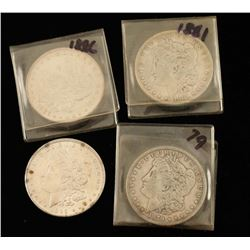 Lot of 4 Morgan Silver Dollars