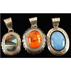 Collection of 3 Sterling Silver & Stone Pendants