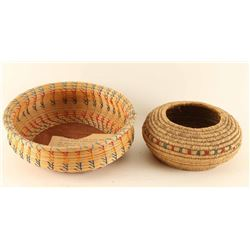 Lot of 2 Coiled Baskets