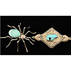 Lot of 2 Sterling Silver & Turquoise Pins