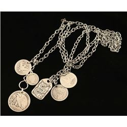 Lot of 2 Sterling Silver Coin Necklaces