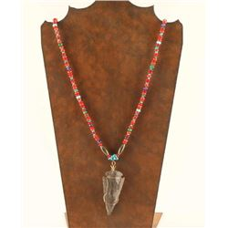 Beaded Necklace with Arrowhead Pendant