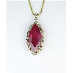 Extraordinary 21.75 carat Ruby and Diamond Pendent