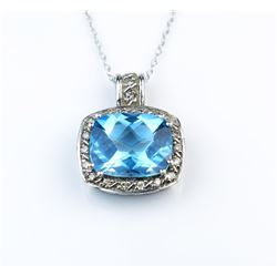 Vivid Blue Topaz and Diamond Pendant