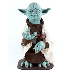 Star Wars - A life size Yoda display prop, made of a solid frame with a hand-painted padded rubber l
