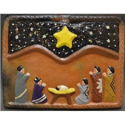 NAVAJO INDIAN POTTERY NATIVITY TILE ( ELIZABETH MANYGOATS)