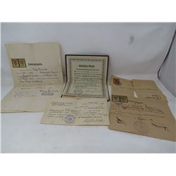 AUSTRIAN IMMIGRATION PAPERS (AUSTRIAN APRENTICE BUTCHER, DOCTOR CERTIFICATE, 1930 DOCUMENT TO IMMIGR