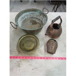 LOT OF 4 PIECES (BRASS POT & ASHTRAY) *COPPER KETTLE & BELL*
