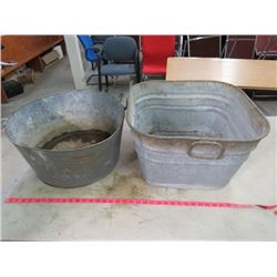 LOT OF 2 GALVANIZED TUBS (1 SQUARE, 1 ROUND)