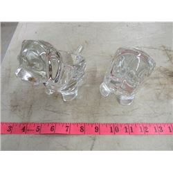 "SET OF 2 GLASS DOGS (5"" HIGH) *SASAKI CRYSTAL, MADE IN JAPAN*"