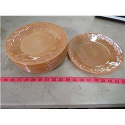 "LOT OF FIRE KING PEACH LUSTER WARE 9"" PLATES (8 PLATES)"