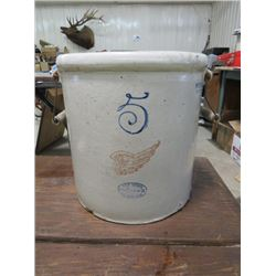 FIVE GALLON RED WING CROCK