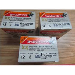 THREE BOXES OF AMMUNITION (WINCHESTER SUPER DOUBLE X MAGNUM 12 GAUGE)  **PICK UP ONLY**