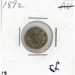 FIVE CENT COIN (CANADA) *1892* (SILVER)