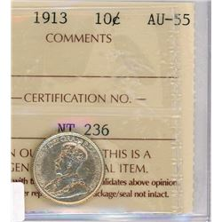 TEN CENT COIN (CANADA) *1913* (SILVER) *ICCS AU-55*