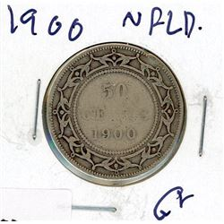 FIFTY CENT COIN (CANADA) *1900* (SILVER) *NEWFOUNDLAND*