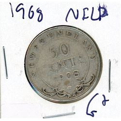 FIFTY CENT COIN (CANADA) *1908* (SILVER) *NEWFOUNDLAND*