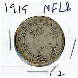 FIFTY CENT COIN (CANADA) *1919* (SILVER) *NEWFOUNDLAND*