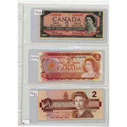 LOT OF 3 TWO DOLLAR BILLS (CANADA) *1954-1974-1986*