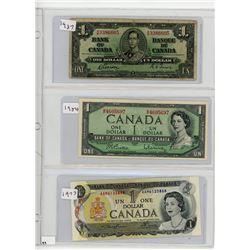 LOT OF 3-ONE DOLLAR BILLS (CANADA) *1937, 1954, 1973*
