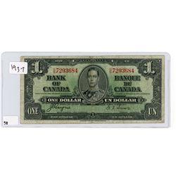 ONE DOLLAR BILL (BANK OF CANADA) *1937*