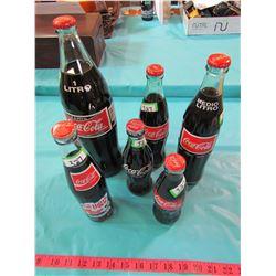 LOT OF 5 COCA-COLA BOTTLES (MEXICO & 1 MONTANA)