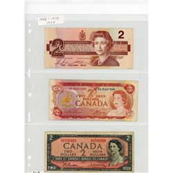 LOT OF 3-TWO DOLLAR BILLS (CANADA) *1986-1974-1954*