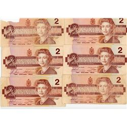 LOT OF 6- TWO DOLLAR BILLS (CANADA) *1986*