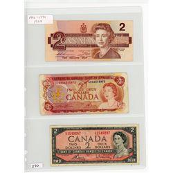 LOT OF 3-TWO DOLLAR BILLS (CANADA) *86-74-54*