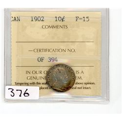 TEN CENT COIN (CANADA) *1902* (ICCS GRADED)
