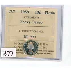 TEN CENT COIN (CANADA) *1958* (ICCS GRADED)