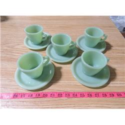 JADEITE FIRE KING 5 CUPS AND SAUCERS