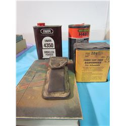 LOT OF ASSORTED SMOKELESS POWDER, KNIFE AND MANUAL