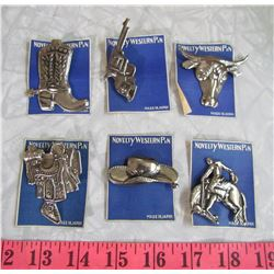 CARNIVAL PRIZE PINS (6- WESTERN THEMED)