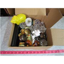 KITCHEN JUNK DRAWER INCLUDING NAPKIN RINGS, CANDLE HOLDERS, S&P SHAKERS ETC