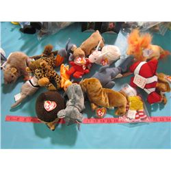 ASSORTED STUFFED ANIMALS (SOME BEANIE BABIES, SOME FIESTA)