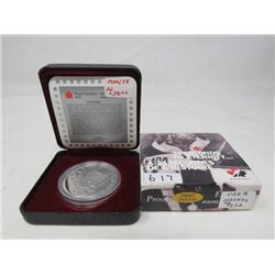 1997 Proof silver dollar 25th anniversary of the Canada-Russia Hockey Series in case of issue.