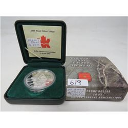 2003 Proof silver dollar 100th anniversary of the Cobalt silver discovery in case of issue.