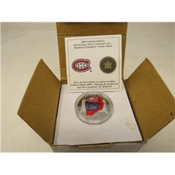 2009 Proof $20 Montreal Canadiens coloured Goalie Mask. Sterling Silver with custom display case.