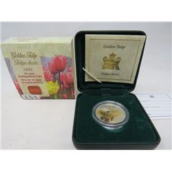 2002 Proof Golden Tulip 50 cents. Sterling silver with 22 karat gold