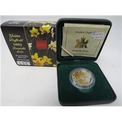 2003 Proof Golden Daffodil 50 cents. Sterling silver with 22 karat gold