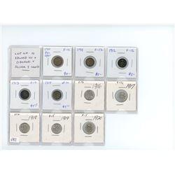 Lot of 10 Edward VII and George V silver 5 cents: 1910 PHL C/BT F-12, 1911 F-12, 1912 F-12, 1913 F-1