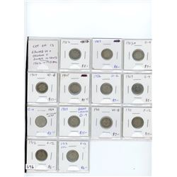 Lot of 13 Edward VII and George V silver 10 cents: 1902 aG-3, 1903 fair, 1903H G-4, 1904 VG-8, 1905